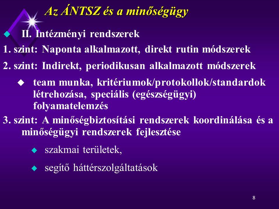 8 Az ÁNTSZ és a minőségügy u II. Intézményi rendszerek 1.