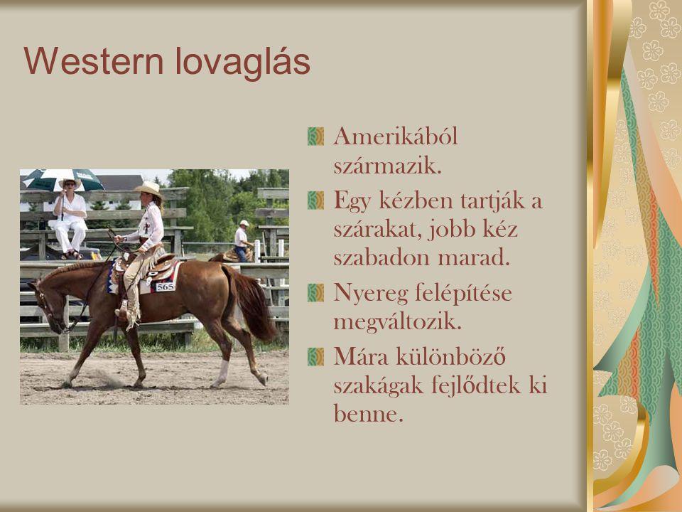 Western lovaglás Amerikából származik.Egy kézben tartják a szárakat, jobb kéz szabadon marad.