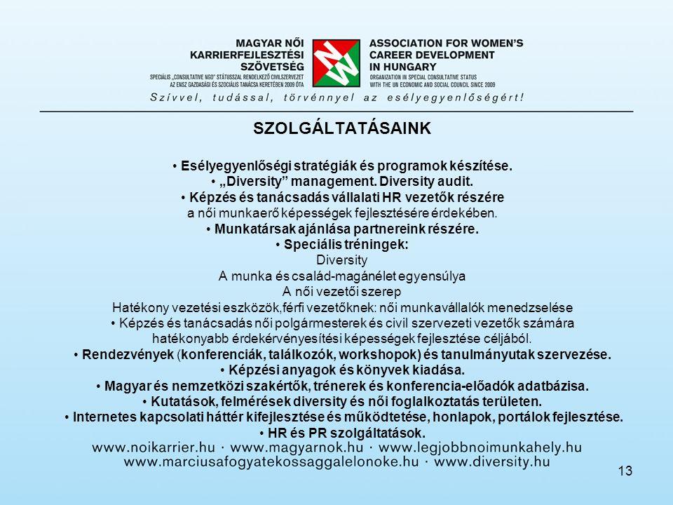 13 SZOLGÁLTATÁSAINK • Esélyegyenlőségi stratégiák és programok készítése.