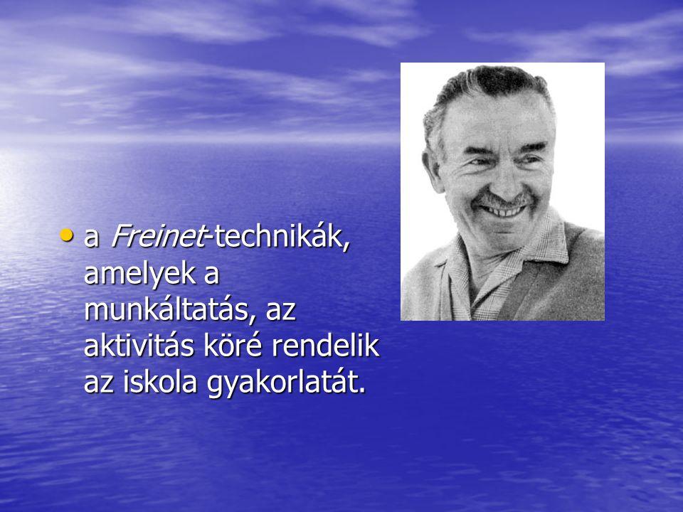 • a Freinet-technikák, amelyek a munkáltatás, az aktivitás köré rendelik az iskola gyakorlatát.
