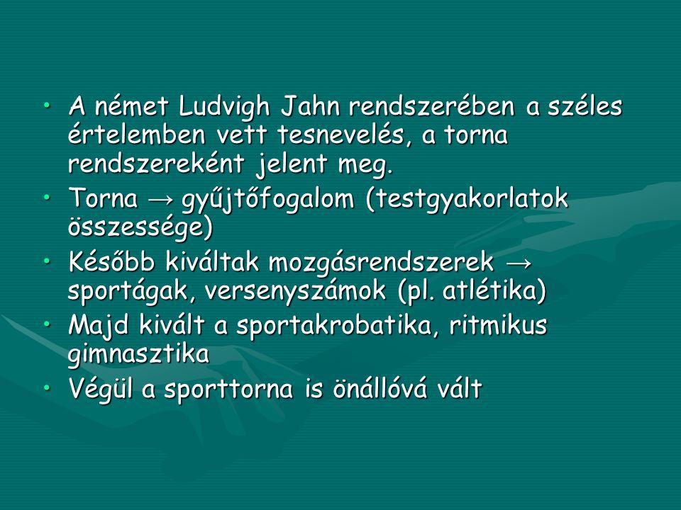 •A német Ludvigh Jahn rendszerében a széles értelemben vett tesnevelés, a torna rendszereként jelent meg.
