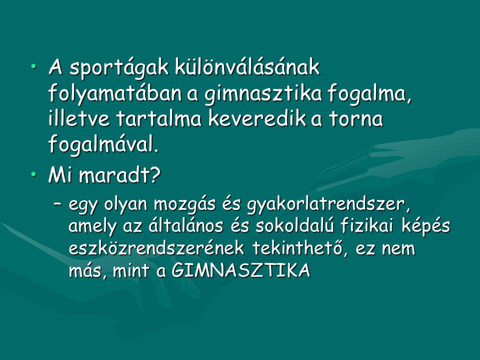 •A sportágak különválásának folyamatában a gimnasztika fogalma, illetve tartalma keveredik a torna fogalmával.