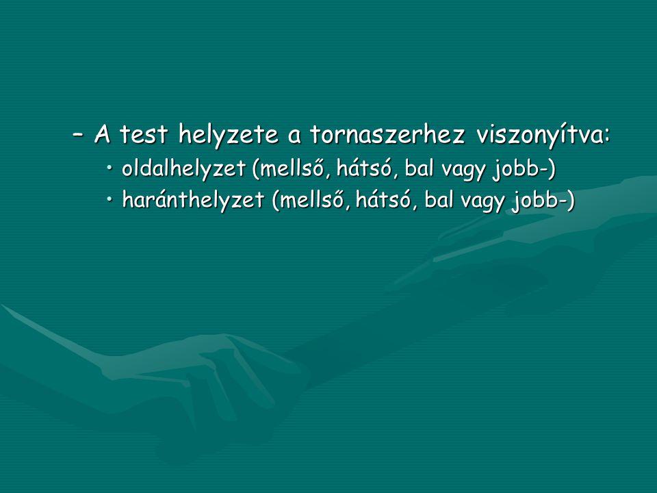 –A test helyzete a tornaszerhez viszonyítva: •oldalhelyzet (mellső, hátsó, bal vagy jobb-) •haránthelyzet (mellső, hátsó, bal vagy jobb-)