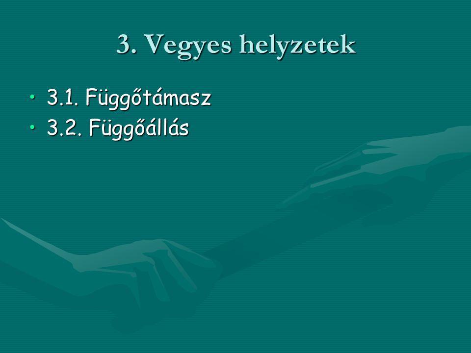 3. Vegyes helyzetek •3.1. Függőtámasz •3.2. Függőállás