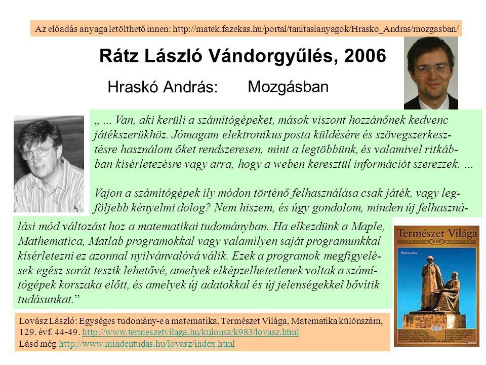 Rátz László Vándorgyűlés, 2006 Hraskó András: Az előadás anyaga letölthető innen: http://matek.fazekas.hu/portal/tanitasianyagok/Hrasko_Andras/mozgasb