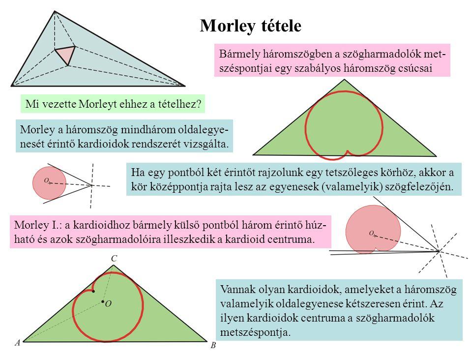 Morley tétele Bármely háromszögben a szögharmadolók met- széspontjai egy szabályos háromszög csúcsai Mi vezette Morleyt ehhez a tételhez? Morley a hár