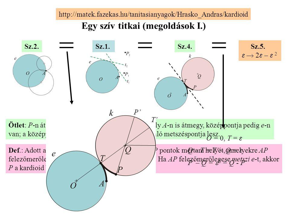 Egy szív titkai (megoldások I.) Sz.1.Sz.2.Sz.4. Sz.5.   2  –  2 http://matek.fazekas.hu/tanitasianyagok/Hrasko_Andras/kardioid Def.: Adott az O k