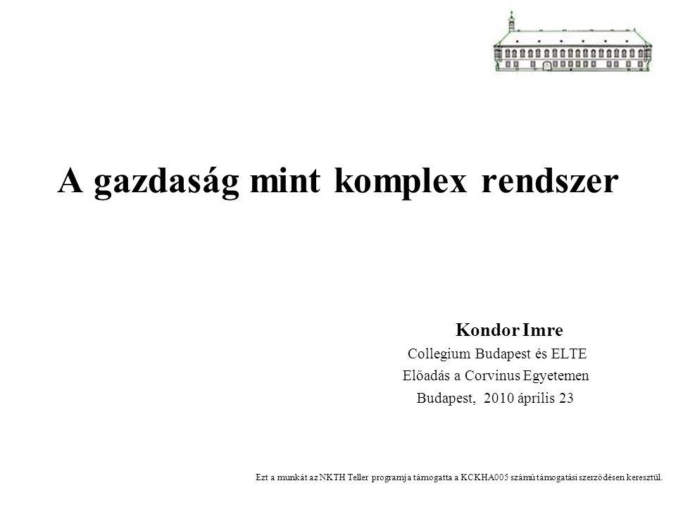 A gazdaság mint komplex rendszer Kondor Imre Collegium Budapest és ELTE Előadás a Corvinus Egyetemen Budapest, 2010 április 23 Ezt a munkát az NKTH Te