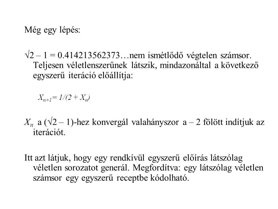 Még egy lépés: √2 – 1 = 0.414213562373…nem ismétlődő végtelen számsor. Teljesen véletlenszerűnek látszik, mindazonáltal a következő egyszerű iteráció