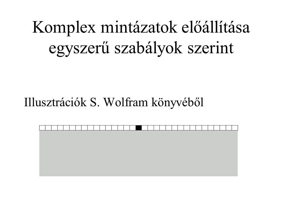 Komplex mintázatok előállítása egyszerű szabályok szerint Illusztrációk S. Wolfram könyvéből