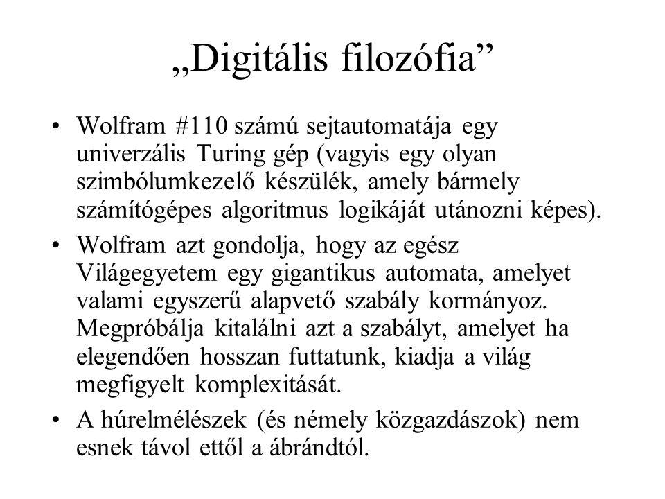 """""""Digitális filozófia"""" •Wolfram #110 számú sejtautomatája egy univerzális Turing gép (vagyis egy olyan szimbólumkezelő készülék, amely bármely számítóg"""