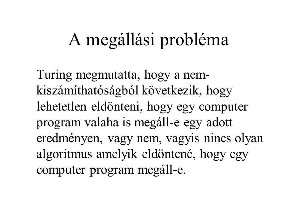 A megállási probléma Turing megmutatta, hogy a nem- kiszámíthatóságból következik, hogy lehetetlen eldönteni, hogy egy computer program valaha is megá