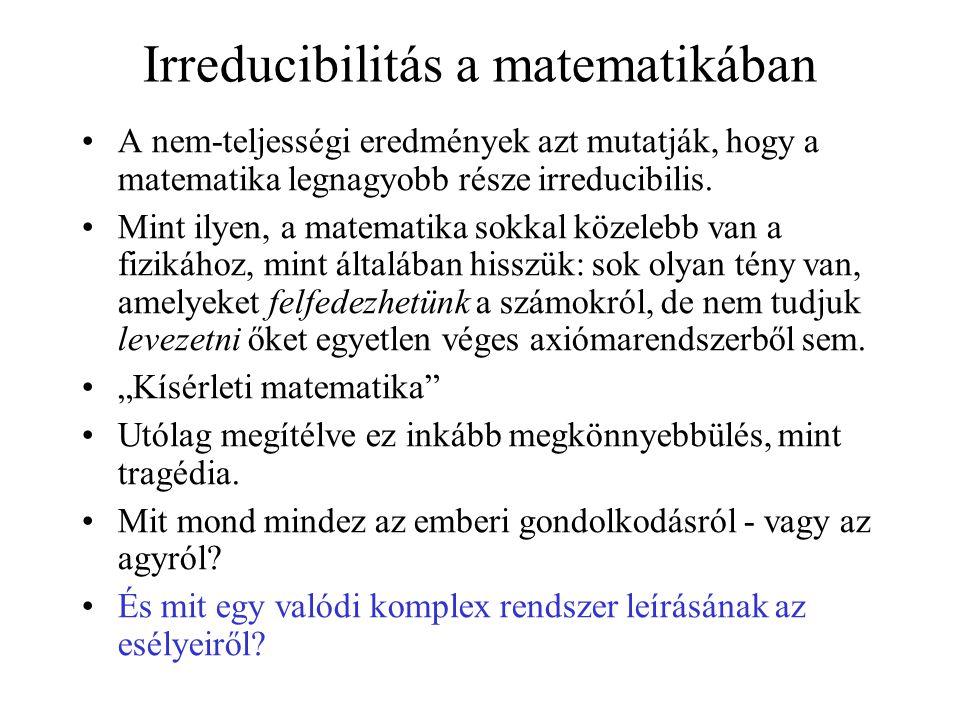 Irreducibilitás a matematikában •A nem-teljességi eredmények azt mutatják, hogy a matematika legnagyobb része irreducibilis. •Mint ilyen, a matematika