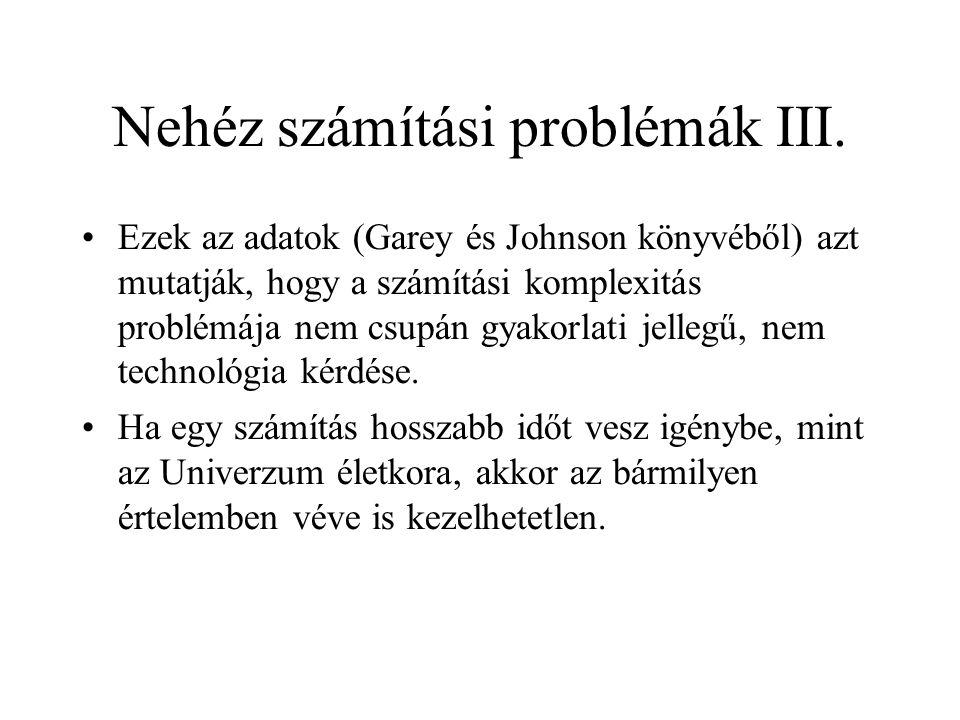Nehéz számítási problémák III. •Ezek az adatok (Garey és Johnson könyvéből) azt mutatják, hogy a számítási komplexitás problémája nem csupán gyakorlat