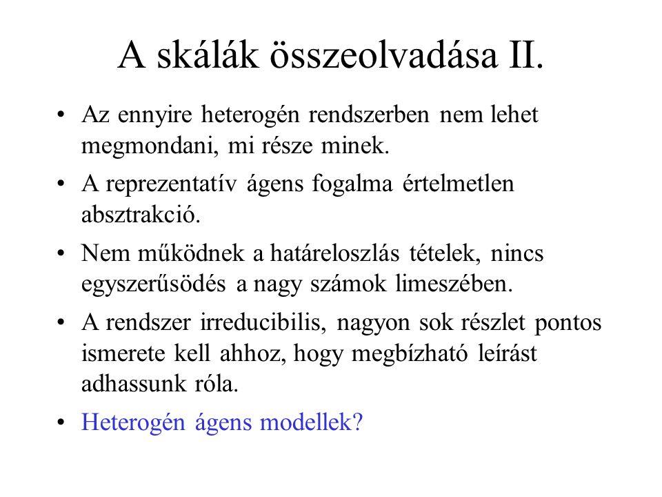 A skálák összeolvadása II. •Az ennyire heterogén rendszerben nem lehet megmondani, mi része minek. •A reprezentatív ágens fogalma értelmetlen absztrak