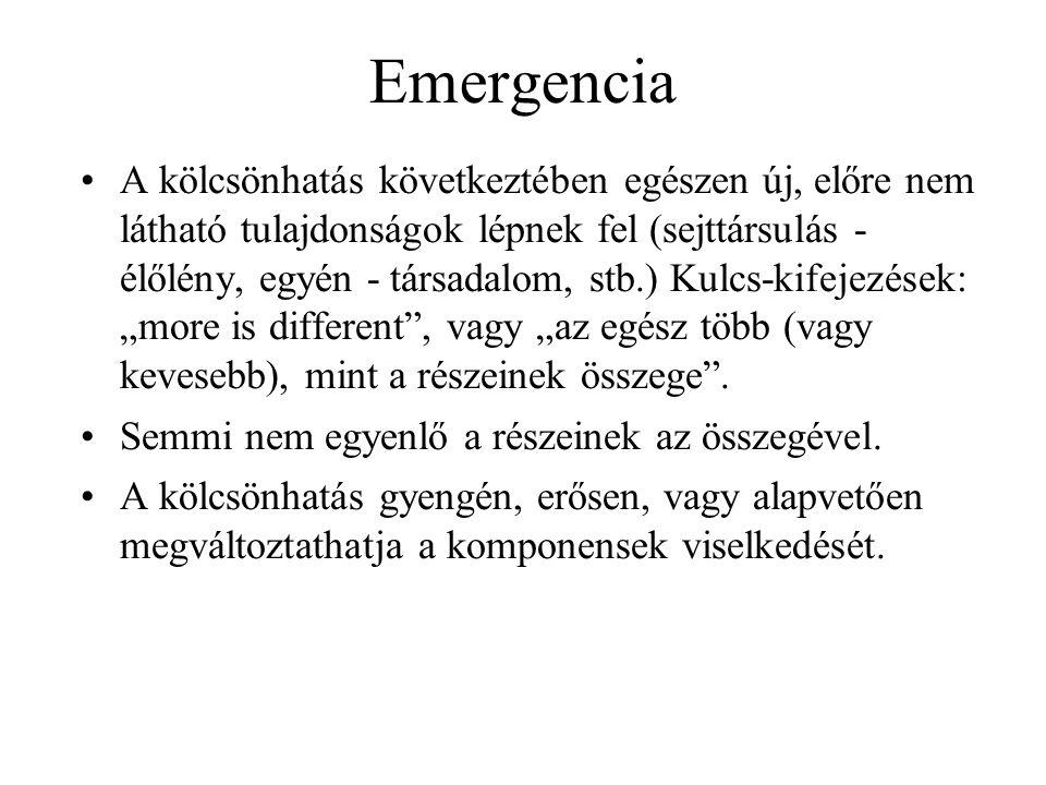 Emergencia •A kölcsönhatás következtében egészen új, előre nem látható tulajdonságok lépnek fel (sejttársulás - élőlény, egyén - társadalom, stb.) Kul