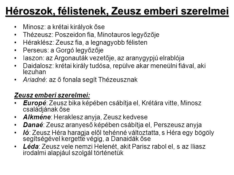 Héroszok, félistenek, Zeusz emberi szerelmei •Minosz: a krétai királyok őse •Thézeusz: Poszeidon fia, Minotauros legyőzője •Héraklész: Zeusz fia, a le