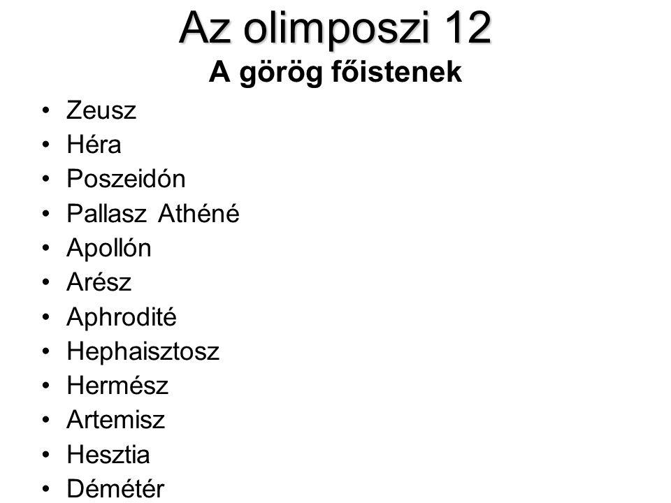 Az olimposzi 12 Az olimposzi 12 A görög főistenek •Zeusz •Héra •Poszeidón •Pallasz Athéné •Apollón •Arész •Aphrodité •Hephaisztosz •Hermész •Artemisz