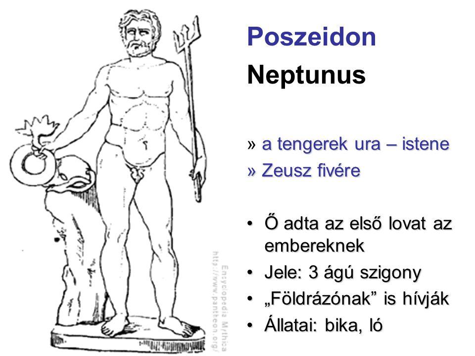 """Poszeidon Neptunus a tengerek ura – istene » a tengerek ura – istene » Zeusz fivére •Ő adta az első lovat az embereknek •Jele: 3 ágú szigony •""""Földráz"""