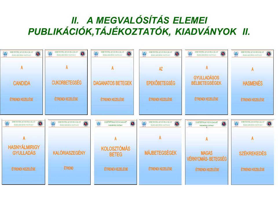 II. A MEGVALÓSÍTÁS ELEMEI PUBLIKÁCIÓK,TÁJÉKOZTATÓK, KIADVÁNYOK II.