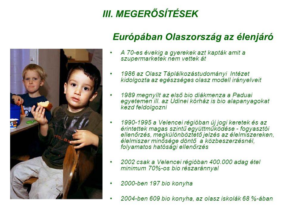 III. MEGERŐSÍTÉSEK Európában Olaszország az élenjáró •A 70-es évekig a gyerekek azt kapták amit a szupermarketek nem vettek át •1986 az Olasz Táplálko