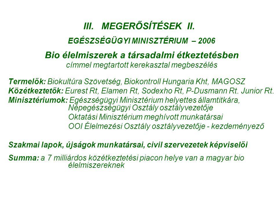 III. MEGERŐSÍTÉSEK II. EGÉSZSÉGÜGYI MINISZTÉRIUM – 2006 Bio élelmiszerek a társadalmi étkeztetésben címmel megtartott kerekasztal megbeszélés Termelők