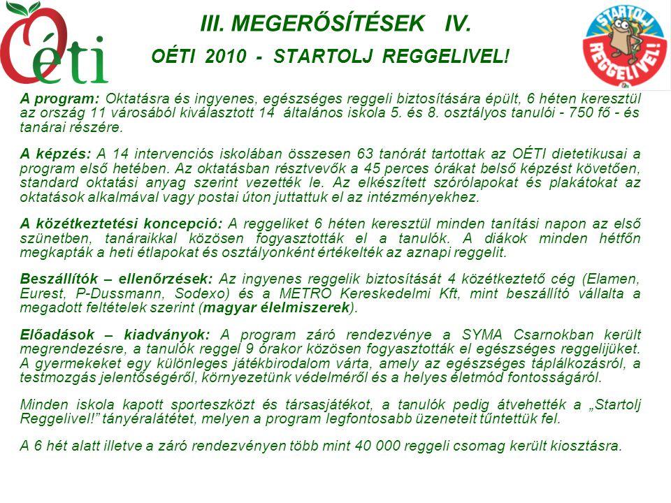 III. MEGERŐSÍTÉSEK IV. OÉTI 2010 - STARTOLJ REGGELIVEL! A program: Oktatásra és ingyenes, egészséges reggeli biztosítására épült, 6 héten keresztül az