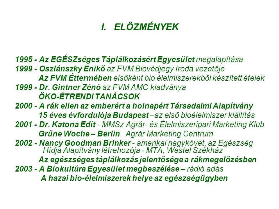 I. ELŐZMÉNYEK 1995 - Az EGÉSZséges Táplálkozásért Egyesület megalapítása 1999 - Oszlánszky Enikő az FVM Biovédjegy Iroda vezetője Az FVM Éttermében el