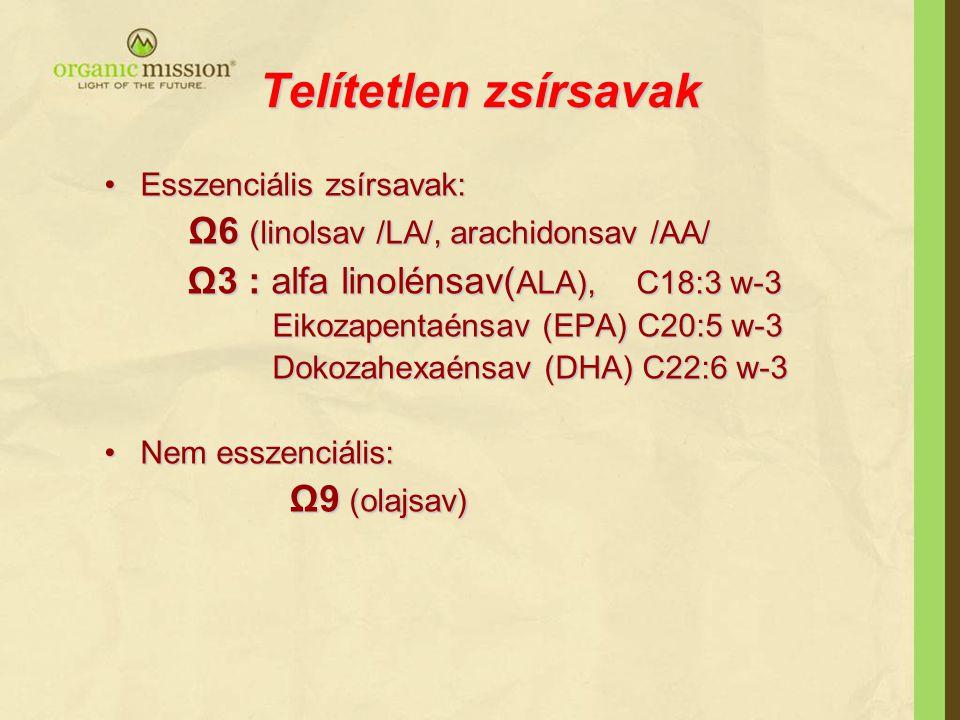 Telítetlen zsírsavak •Esszenciális zsírsavak: Ω6 (linolsav /LA/, arachidonsav /AA/ Ω6 (linolsav /LA/, arachidonsav /AA/ Ω3 : alfa linolénsav( ALA), C1