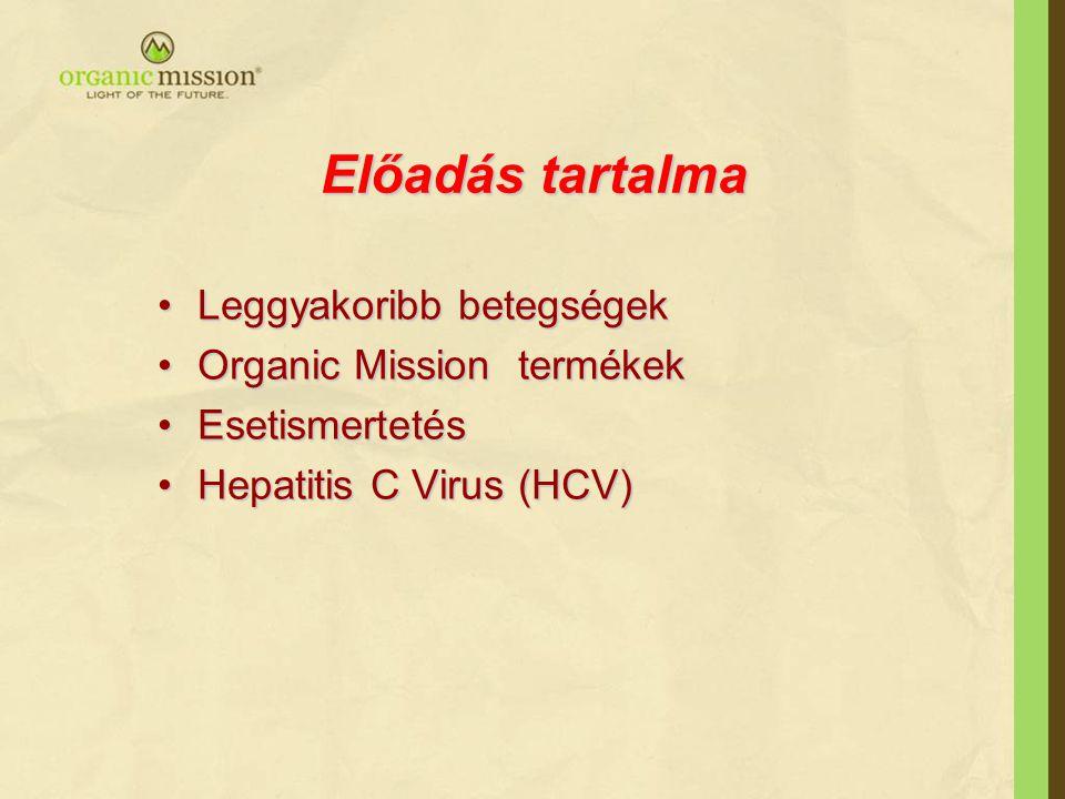 Előadás tartalma •Leggyakoribb betegségek •Organic Mission termékek •Esetismertetés •Hepatitis C Virus (HCV)