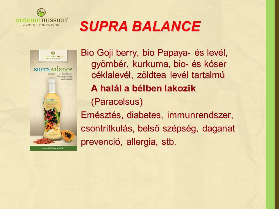 SUPRA BALANCE Bio Goji berry, bio Papaya- és levél, gyömbér, kurkuma, bio- és kóser céklalevél, zöldtea levél tartalmú A halál a bélben lakozik A halá