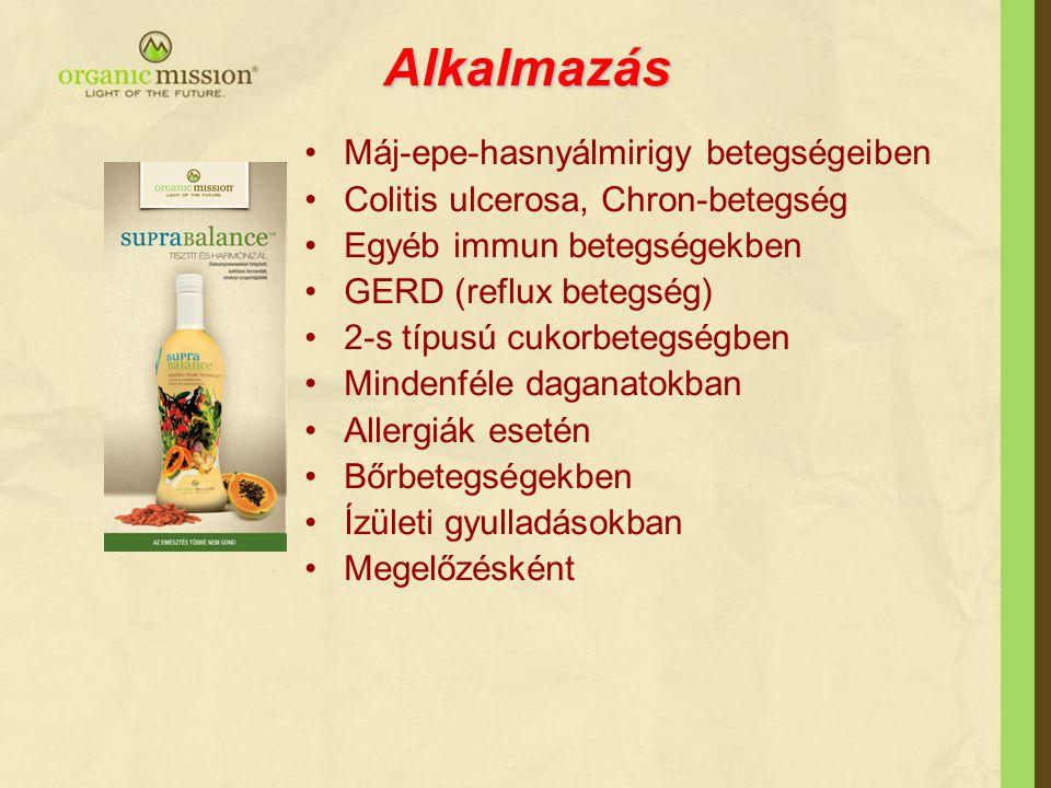 Alkalmazás •Máj-epe-hasnyálmirigy betegségeiben •Colitis ulcerosa, Chron-betegség •Egyéb immun betegségekben •GERD (reflux betegség) •2-s típusú cukor