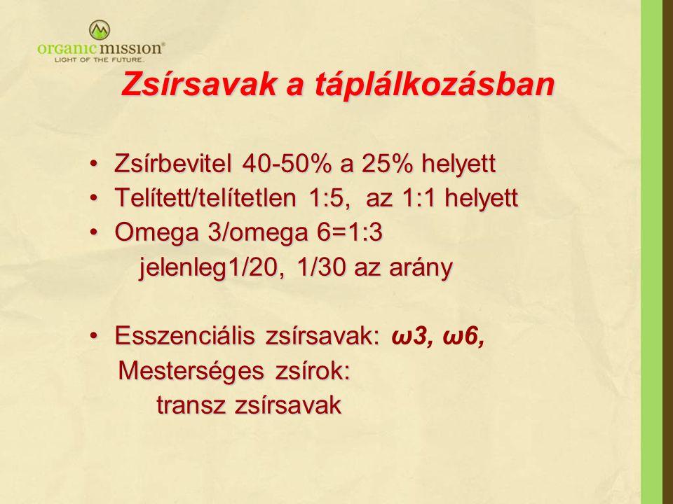Telítetlen zsírsavak •Esszenciális zsírsavak: Ω6 (linolsav /LA/, arachidonsav /AA/ Ω6 (linolsav /LA/, arachidonsav /AA/ Ω3 : alfa linolénsav( ALA), C18:3 w-3 Ω3 : alfa linolénsav( ALA), C18:3 w-3 Eikozapentaénsav (EPA) C20:5 w-3 Eikozapentaénsav (EPA) C20:5 w-3 Dokozahexaénsav (DHA) C22:6 w-3 Dokozahexaénsav (DHA) C22:6 w-3 •Nem esszenciális: Ω9 (olajsav) Ω9 (olajsav)