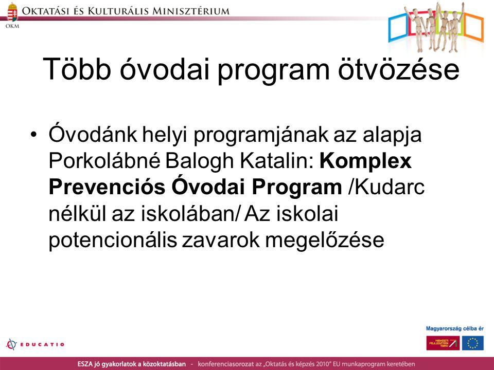 Több óvodai program ötvözése •Óvodánk helyi programjának az alapja Porkolábné Balogh Katalin: Komplex Prevenciós Óvodai Program /Kudarc nélkül az isko