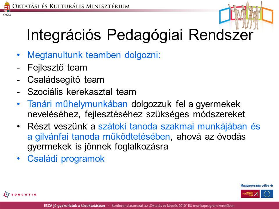 Integrációs Pedagógiai Rendszer •Megtanultunk teamben dolgozni: -Fejlesztő team -Családsegítő team -Szociális kerekasztal team •Tanári műhelymunkában