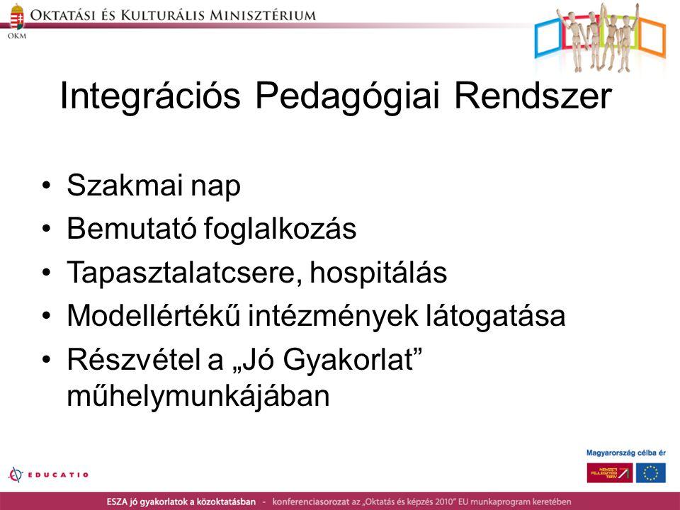 """Integrációs Pedagógiai Rendszer •Szakmai nap •Bemutató foglalkozás •Tapasztalatcsere, hospitálás •Modellértékű intézmények látogatása •Részvétel a """"Jó"""
