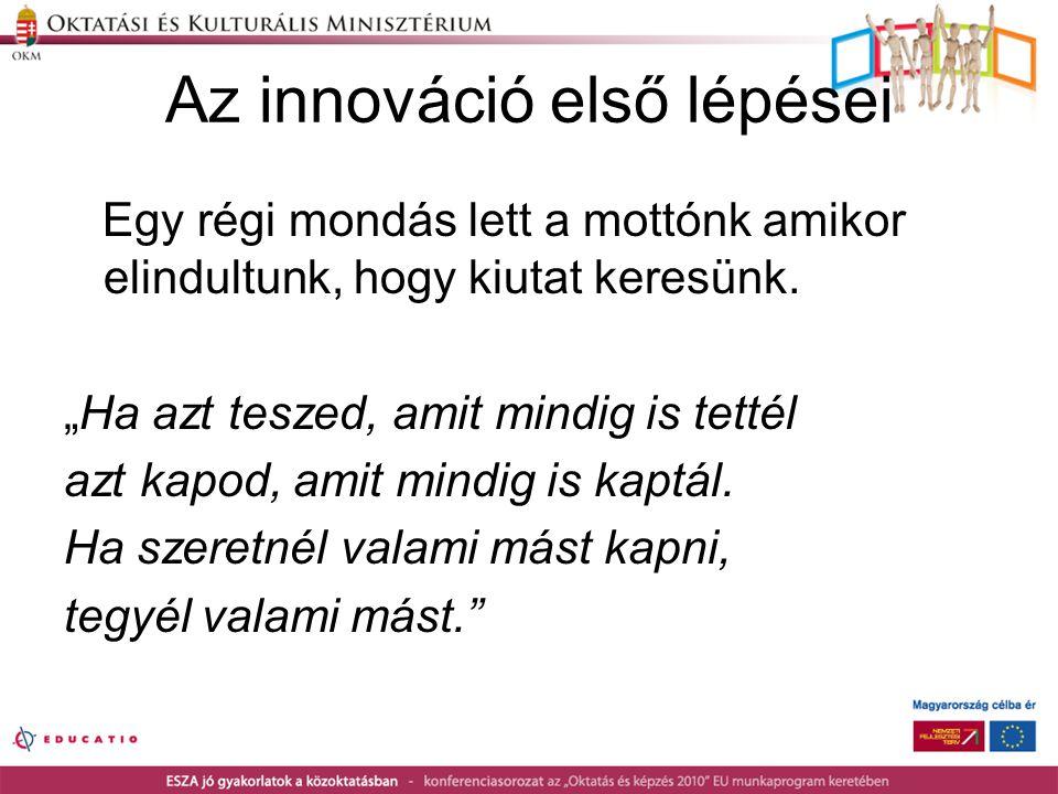 """Az innováció első lépései Egy régi mondás lett a mottónk amikor elindultunk, hogy kiutat keresünk. """"Ha azt teszed, amit mindig is tettél azt kapod, am"""