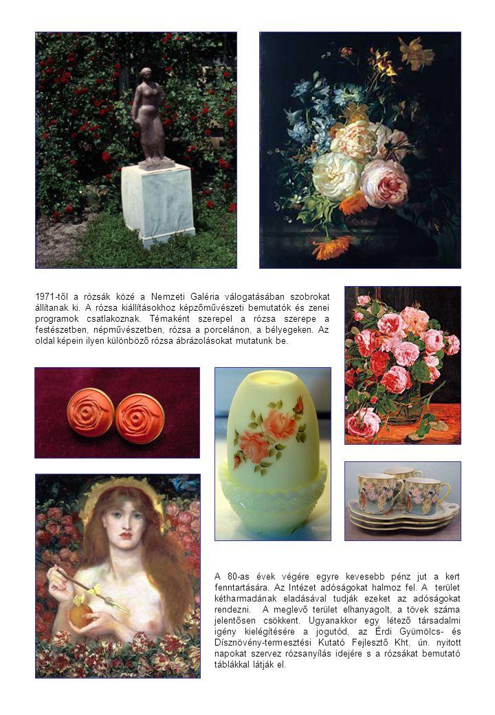 1971-től a rózsák közé a Nemzeti Galéria válogatásában szobrokat állítanak ki. A rózsa kiállításokhoz képzőművészeti bemutatók és zenei programok csat