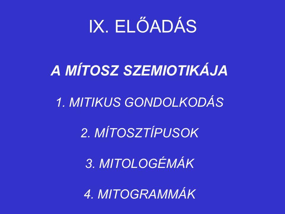 IX.ELŐADÁS A MÍTOSZ SZEMIOTIKÁJA 1. MITIKUS GONDOLKODÁS 2.