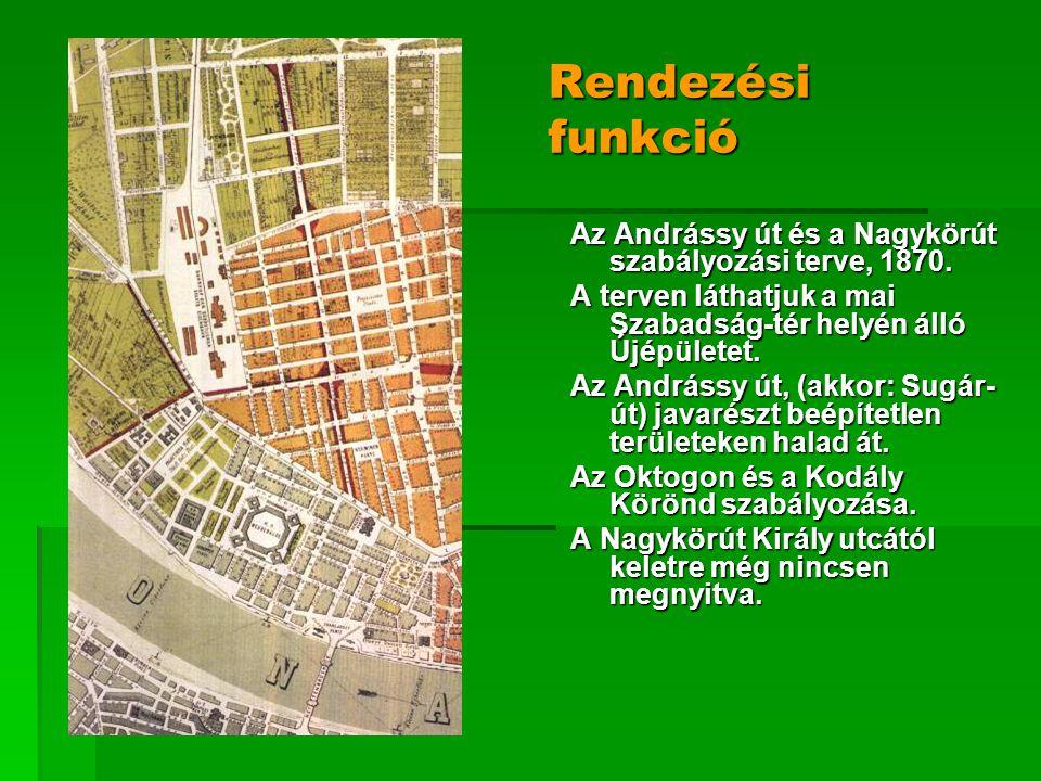 Rendezési funkció Az Andrássy út és a Nagykörút szabályozási terve, 1870. A terven láthatjuk a mai Szabadság-tér helyén álló Újépületet. Az Andrássy ú