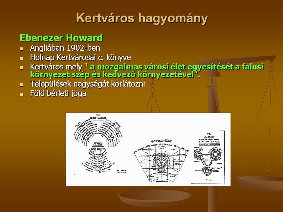 Kertváros hagyomány Ebenezer Howard  Angliában 1902-ben  Holnap Kertvárosai c. könyve  Kertváros mely