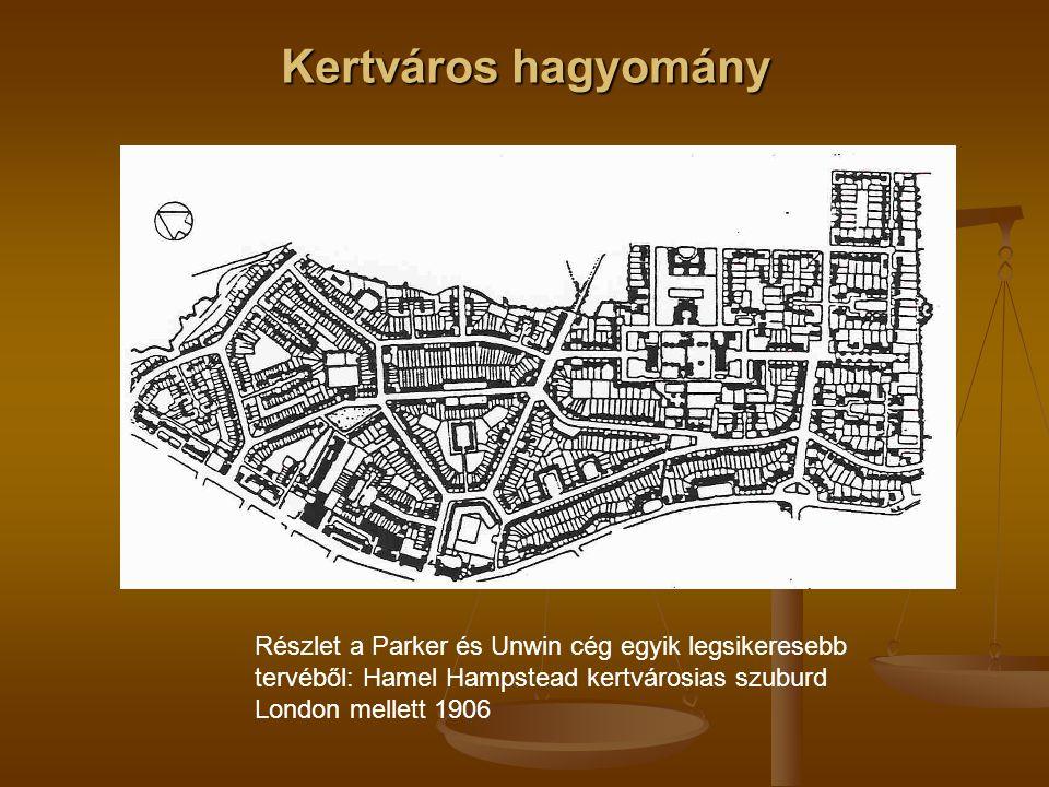 Kertváros hagyomány Részlet a Parker és Unwin cég egyik legsikeresebb tervéből: Hamel Hampstead kertvárosias szuburd London mellett 1906