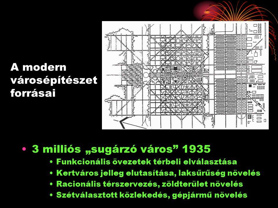 """A modern városépítészet forrásai •3 milliós """"sugárzó város"""" 1935 •Funkcionális övezetek térbeli elválasztása •Kertváros jelleg elutasítása, laksűrűség"""