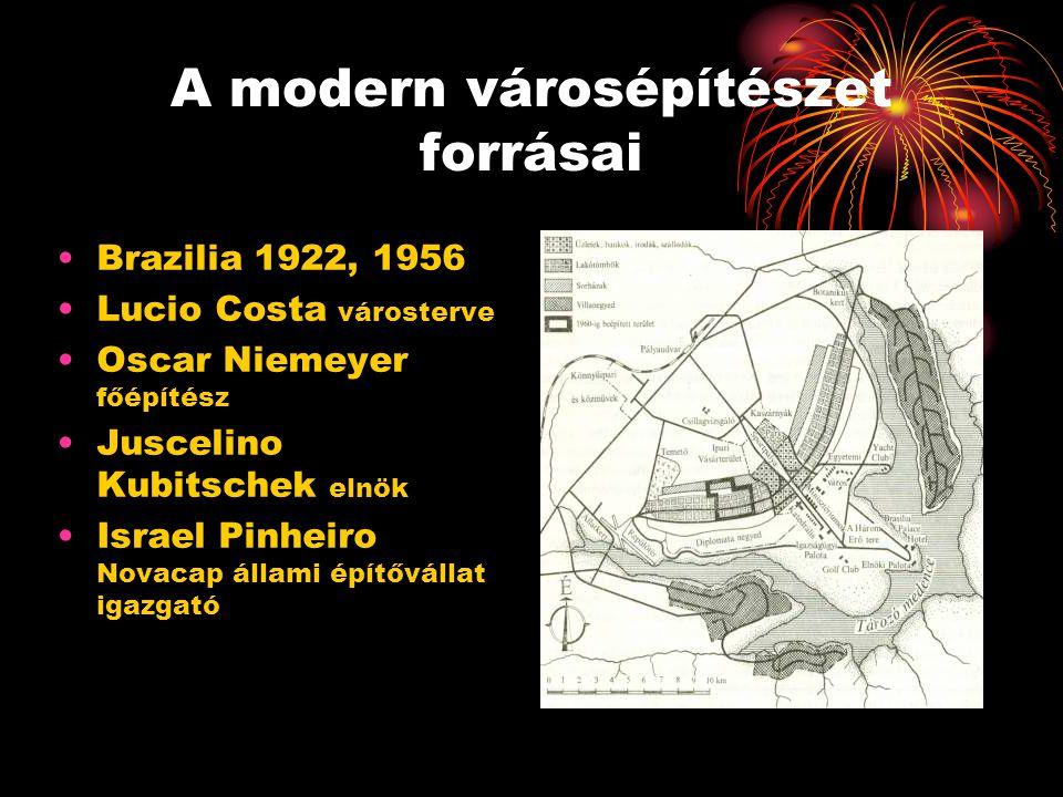 A modern városépítészet forrásai •Brazilia 1922, 1956 •Lucio Costa városterve •Oscar Niemeyer főépítész •Juscelino Kubitschek elnök •Israel Pinheiro N
