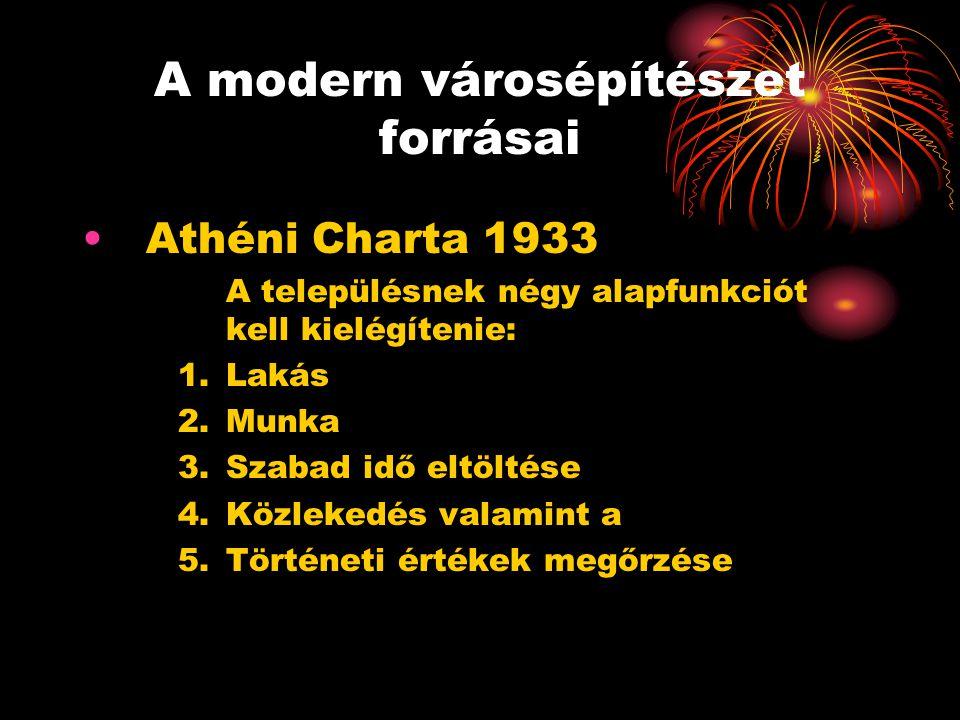 A modern városépítészet forrásai •Athéni Charta 1933 A településnek négy alapfunkciót kell kielégítenie: 1.Lakás 2.Munka 3.Szabad idő eltöltése 4.Közl
