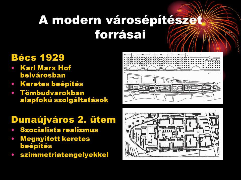 A modern városépítészet forrásai Bécs 1929 •Karl Marx Hof belvárosban •Keretes beépítés •Tömbudvarokban alapfokú szolgáltatások Dunaújváros 2. ütem •S