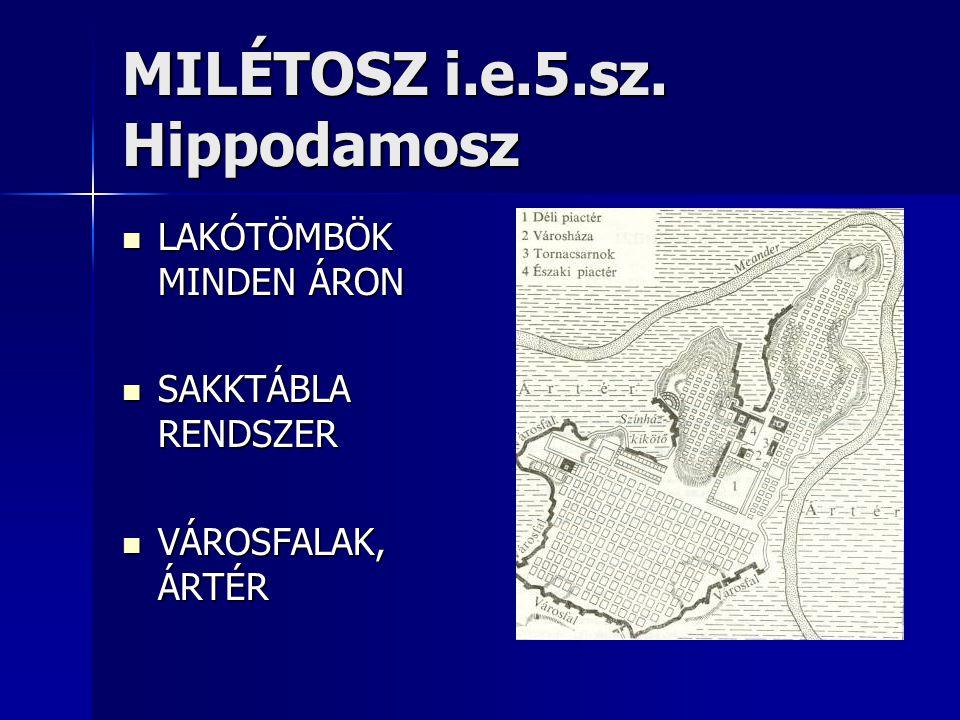 MILÉTOSZ i.e.5.sz. Hippodamosz  LAKÓTÖMBÖK MINDEN ÁRON  SAKKTÁBLA RENDSZER  VÁROSFALAK, ÁRTÉR