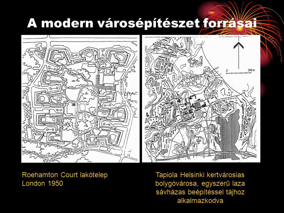 A modern városépítészet forrásai Roehamton Court lakótelep London 1950 Tapiola Helsinki kertvárosias bolygóvárosa, egyszerű laza sávházas beépítéssel