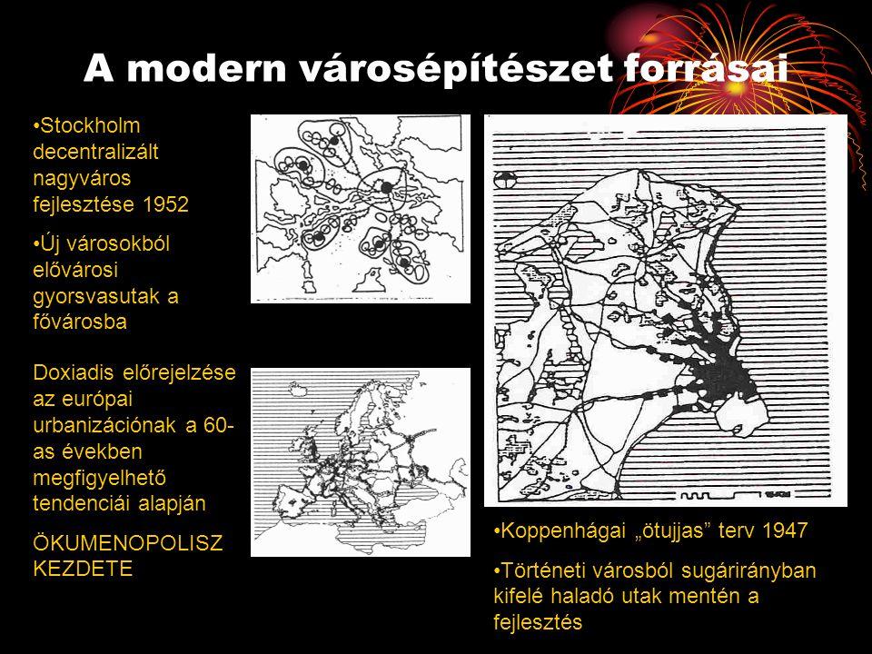 """A modern városépítészet forrásai •Stockholm decentralizált nagyváros fejlesztése 1952 •Új városokból elővárosi gyorsvasutak a fővárosba •Koppenhágai """""""