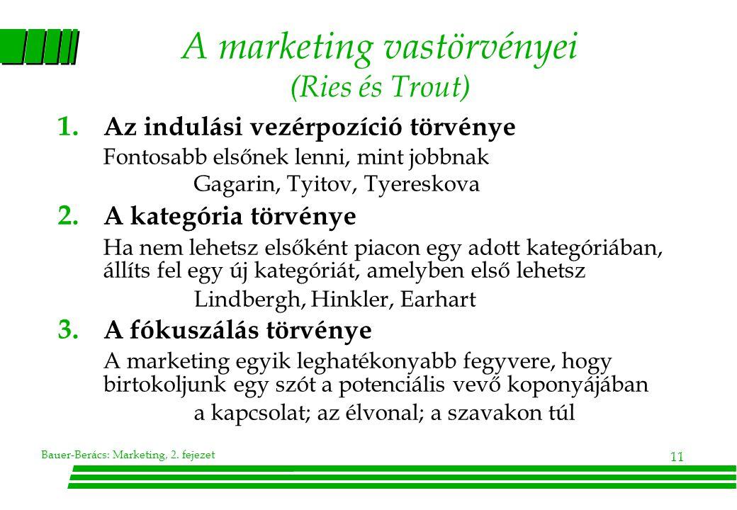 Bauer-Berács: Marketing, 2.fejezet 11 A marketing vastörvényei (Ries és Trout) 1.